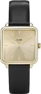 LA TÉTRAGONE Gold Gold Black CL60004 Women's Watch 29mm Square Dial Leather Strap Minimalistic Design Casual Dress Japanese Quartz Elegant Timepiece