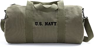 US NAVY Text Army Sport Heavyweight Canvas Duffel Bag in Olive & Black, Large