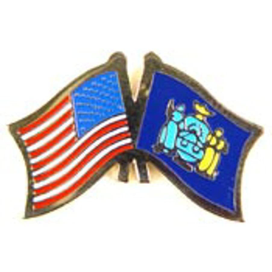 EagleEmblems P09133 PIN-USA/New York (Cross Flags) (1.125'')