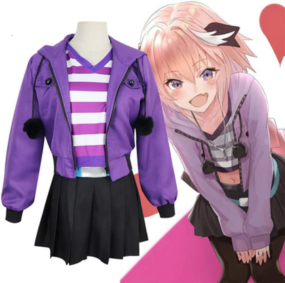 HJQ Fate Apocrypha Astolfo Cosplay Purple Women Costumes Jacket New Free Shipping discount