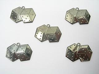 LOT 5 CHARMS METAL hematite : Dé à jouer 15mm - Pendentif décoratif en métal - DIY pour embellissements de bijoux , scrapb...
