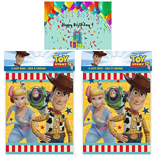 Toy Story 4 Birthday Party Loot Bags - Set of 16 with 1 Birthday Card