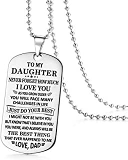 to My Daughter Just Do Your Best Love Dad Daddy Father Dog Tag Military Air Force Navy Coast Guard Necklace Ball Chain Gift for Best Son Birthday Graduation Stainless Steel
