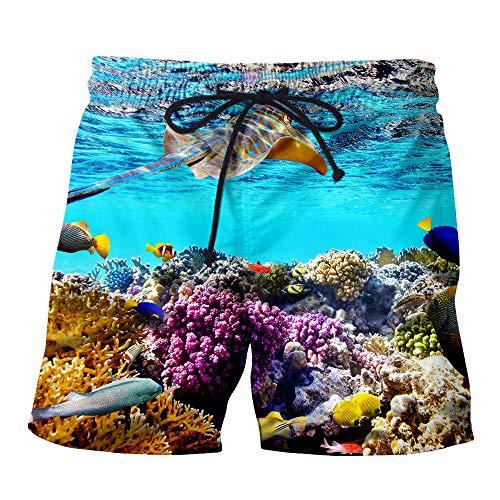 Blwz Strand Shorts Männer schnell trocknend 3D schöne Fische gedruckt Hosen mit Taschen Badehose lässig Surfen Freizeit im Freien Urlaub Hosen, S