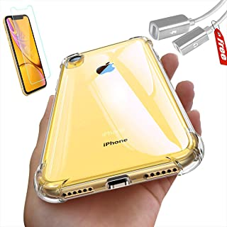 iPhone xr Cases Ultra Hybrid Designed, Crystal Clear Protective TPU, Bumper Shockproof case - with Screen Protector and Splitter Adapter for Headphone & Charger   3 in 1 Package  