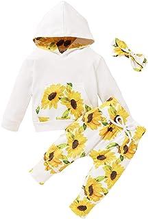 Trajes de niña pequeña Manga Larga con Estampado de chándal con Capucha Mono Tops con Pantalones Casuales Ropa Conjuntos d...
