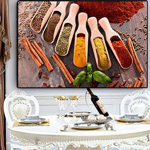 ZWBBO schilderij met korrelgroottes voor kruiden, lepel, plant in de keuken, schilderij en drukken, kunst van de muur, eten, afbeelding woonkamer