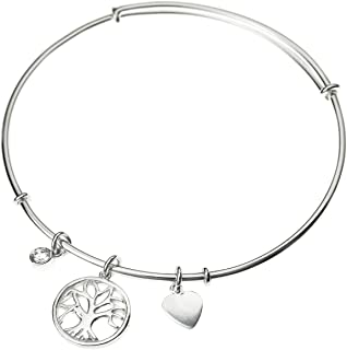 925 Sterling Silver Family Tree of Life Charm Cz Crystal Adjustable Cuff Bangle