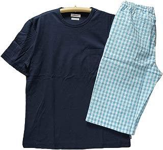 パジャマ メンズ [Mサイズ] 紳士 半袖 6分丈スボン Amour アムール 天竺ニット&先染サッカー地 プルオーバー