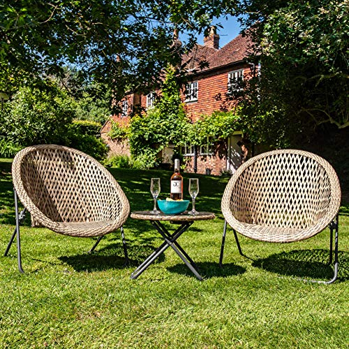 Dawsons Living Faux Rattan Bistro Set - Choice of Colours - Conservatory Garden Patio and Decking Furniture Chairs and Glass Top Table Set