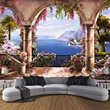 3D Wallpaper Custom Large Non Woven Mural Decoration Garden Balcony Sea View-150105Cm Modern Wall Mural Landscape Picture Decor