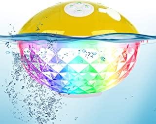 Portable Bluetooth Speakers with Colorful Lights Show,IPX7 Waterproof Shower Speaker,Built-in Mic Crystal Clear Stereo Sou...