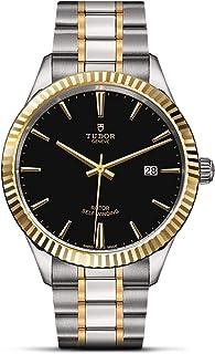 Tudor メンズスタイル 41mm ツートンカラー スチールブレスレット スチールケース 自動ブラックダイヤル アナログ腕時計 M12713-0005