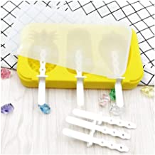 FKou 3 Grids Silicone Ice Cream Mold With Lid Popsicle Mold Car Rabbit Snowman Ice Cream Mould Kitchen Accessories Home Ga...