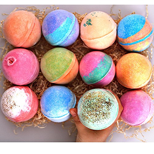 Bath Bomb Gift Set 12 Huge - 5Oz each - 100% Handmade with All Natural and Organic Ingredients -...