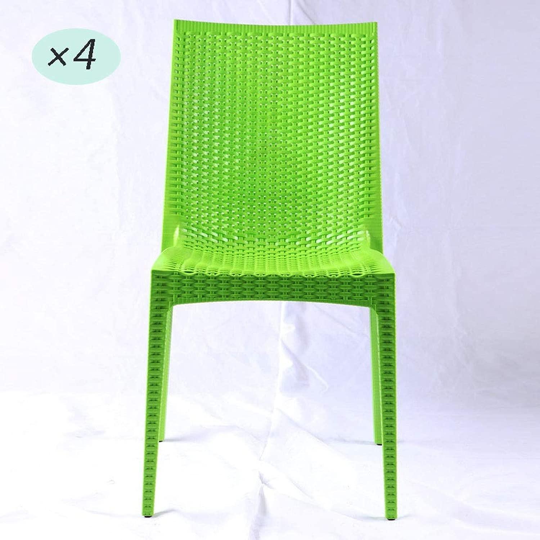 プラスチックダイニングチェアセットOf4 AXZXCプラスチックラウンジチェアアームレストのないシンプルでモダンなダイニングチェア快適なバックガーデンチェアフリーアセンブリと可動屋内屋外ビストロカフェテラスブルー (Color : 緑-4pcs)