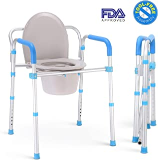 Health Line Aluminum Folding Bedside Commode Chair - Portable 3 in 1 Toilet Bath Shower Seat for Adults Handicap Elderly, Tool-Free Assembly, Adjustable Height, Lightweigt, w/Bucket/Lid/Splash Guard