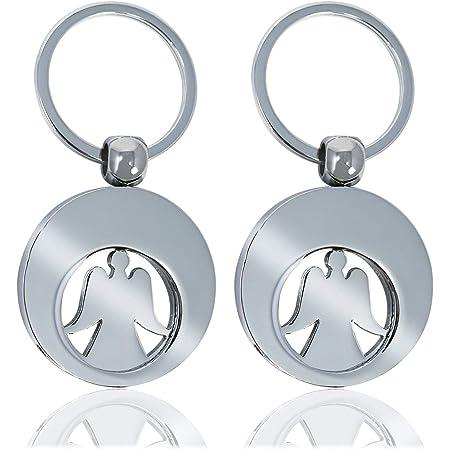 Com Four 2x Schlüsselanhänger Schutzengel Mit Einkaufswagenchip Engel Mit Herausnehmbarem Einkaufs Chip Für Den Einkaufswagen Doppelpack Küche Haushalt