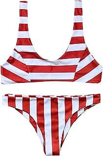 Zlolia Striped Bikini Two Pieces for Women Sleeveless Vest Bare Deep V Push-Ups High Waist Swimsuit Summer Beachwear