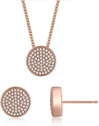 1dec02ce9 Rose Gold Jewelry Set 5A Cubic Zirconia Pendant Necklace and Stud Earrings  Round Necklace Earring Set