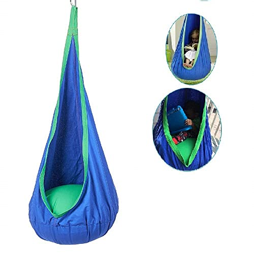 HORITA(ホリタ)子供用 ハンモック ハンギングチェア ブランコ スイングシート コットン製 耐荷重79kg 取り外し可能 吊り下げ式 室内 アウトドア二用途 ブルー