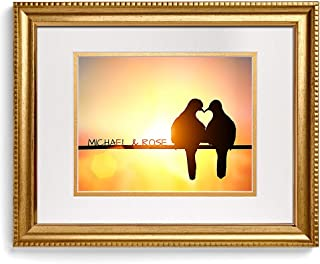 Silhouette of Bird Couple in Love with Heart - Personalized Photo Prints Artwork with Couple's Names,Date or Message on, Perfect Love Gift for Anniversary.14x11 inches & D-Mats UNFRAMED
