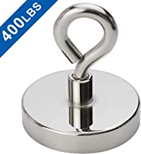 Super Strong Neodymium Fishing Magnets, 400 lbs(181 KG) Pulling Force Rare Earth Magnet with Countersunk Hole Eyebolt Diameter 2.36 inch(60 mm) for Retrieving in River and Magnetic Fishing
