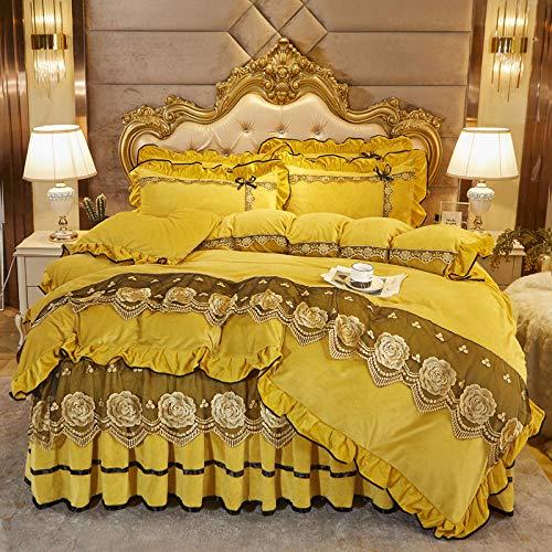 Juego de cuatro piezas de forro polar de coral estilo falda de cama, funda nórdica de doble cara más forro polar, colcha adecuada para doble king-golden_Bed_skirt: _150cm * 200cm (4 piezas)