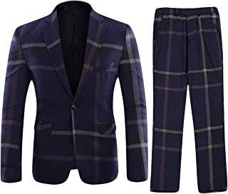YFFUSHI Mens Plaid 2 Piece Suit Set Blazer Jacket Tux Suit Pants