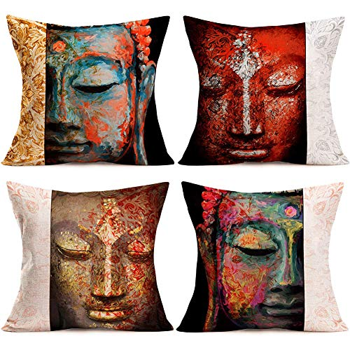 Doitely Set of 4 Vintage Buddha and Mandala Pattern Throw Pillow Covers India Zen Culture Decorative Pillow Covers Standard Pillow Cases Cotton Linen Square Cushion Cover for Car Couch 18x18 Inch (BM)
