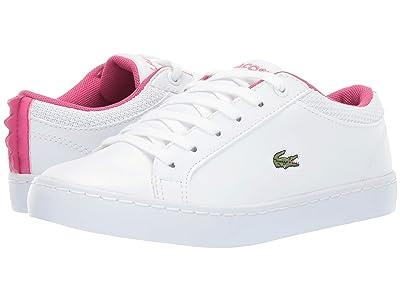 Lacoste Kids Straightset 119 1 CUC (Little Kid) (White/Dark Pink) Girl