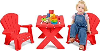 HAPPYGRILL Mini Plastic Table and 2 Chairs Set, Kids Chair Table for Patio Garden, Red