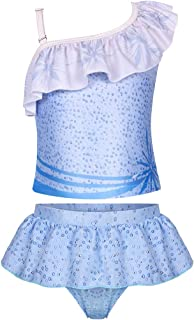 HenzWorld Swimsuits for Girls Swimwear Bathing Suits Princess Dress Up Outfits Clothes 3D Digital Printed Ruffle One Shoulder Crop Tops Short Skirt Pants Little Kids Age 4-5 Years Blue