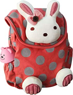 Labebe Red Baby Backpack with Anti-Lost Leash, Bunny Boy&Girl Bag for 1-3 Years