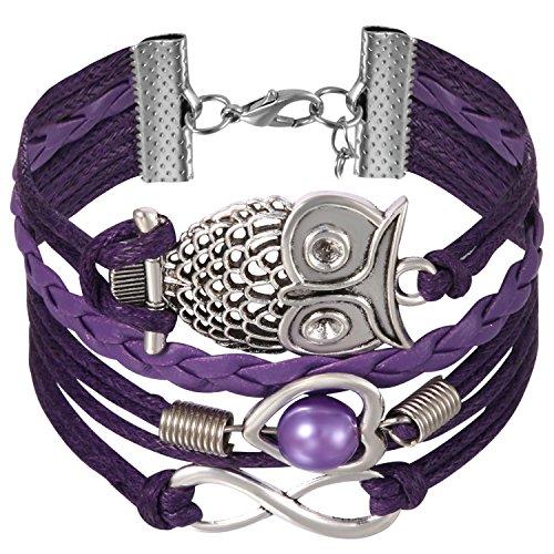 JewelryWe Schmuck Freundschaft Armband, Vintage Perle Herz Eule Infinity Unendlichkeit Zeichen Leder Legierung Seil Charm Armreif Wickelarmband, Lila Silber