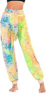 Weigkous Womens High Waisted Harem Yoga Pants, Casual Loose Side Slit Tie-dye Print Hippie Trousers Sweatpants with Belt
