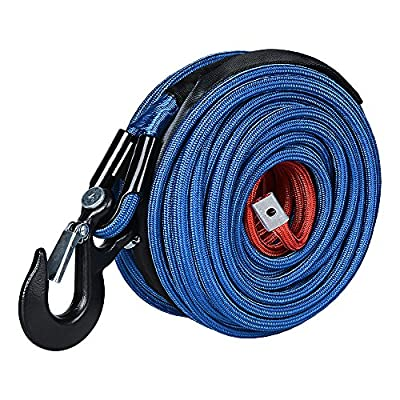 Anzio Lightweight Flexible Fiber Winch Wire Line Rope Hook Replacement for Jeep Emergency Tow Systems