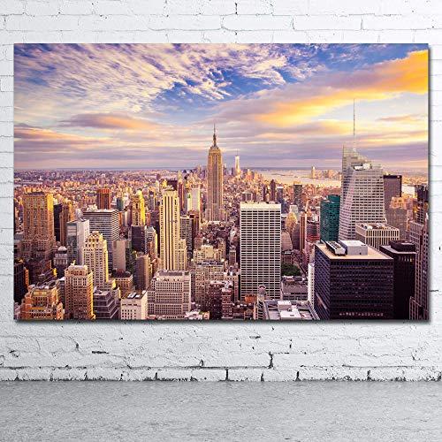 Nueva York Manhattan Rascacielos_Puzzle Adulto 1000 Piezas_Se Puede Usar como un Juego de Rompecabezas o Pelota de estrés para Adultos_50x75cm
