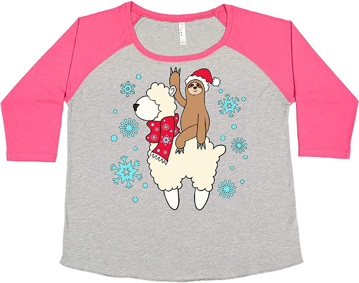 inktastic Christmas Cute Classic Sloth and 5% OFF T-Shi Llama Size Women's Plus