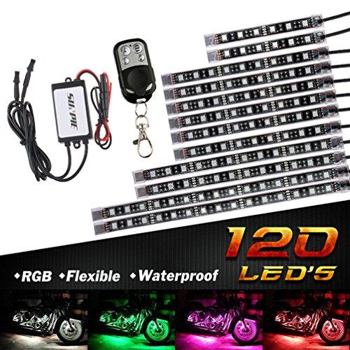 バイク用 RGB LEDテープライト バージョンアップ版 MOTOSTAR オートバイ イルミネーション LEDテールランプ ストリップライト フルカラー 防水仕様 12本セット 15色パターン リモコン付き 5050SMD 日本語マニュアル