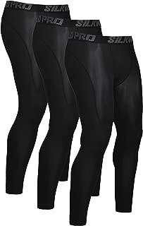 SILKWORLD Men's 1~3 Pack Compression Pants Cool Dry Baselayer Workout Running Tight Leggings