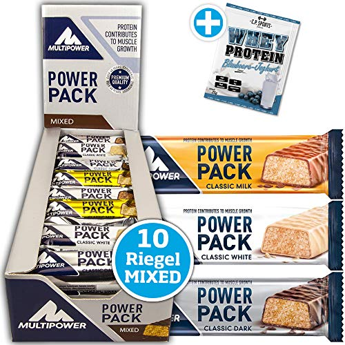 Multipower Power Pack Classic Dark, Milk, White MIX BOX 10 x 35g Protein Riegel in 3 Geschmacksrichtungen mit 30% Proteingehalt + 1 x C.P. Sports Whey Protein 25g Portionsbeutel MIX gratis