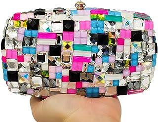Lanbinxiang @ Rivet Diamond Womanガラスカラーモザイクスクエアイブニングパーティーウェディングバッグショルダーバッグチェーンショルダーバッグpuバッグ財布サイズ:19 * 6 * 11 cm