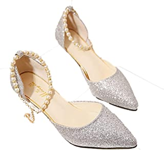Summer Glitter Women Ankle Pearl Chain Strap High Heel Pointed Toe Sandals