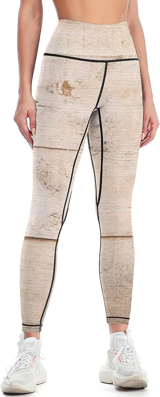 Wood Brown Aged Plank Texture Women F Slim Yoga High Pants Waist Brand Cheap Sale Sale Venue