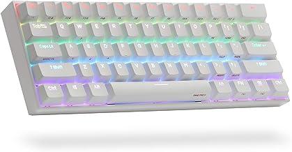 ANNE PRO 2, 60% Wired/Wireless Mechanical Keyboard (Gateron Brown Switch/White Case) - Full Keys Programmable - True RGB Backlit - Tap Arrow Keys - Double Shot PBT Keycaps - NKRO - 1900mAh Battery