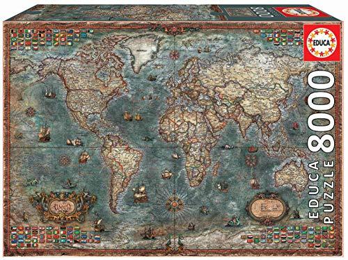 Educa Borras - Genuine Puzzles, Puzzle 8.000 piezas, Mapamundi histórico (18017)