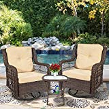 Outdoor Bistro Set 3 Pieces, Outdoor Resin Wicker Swivel Rocker Patio Chair, 360-Degree Swivel Rocking Chairs and Tempered Glass Top Side Coffee Table, Outdoor Rattan Conversation Sets