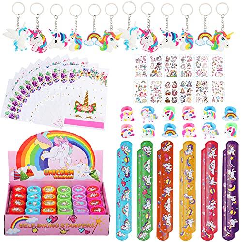 84 Pièces Anniversaire Licorne Cadeau, Porte Clé Licorne Bracelets à Claquer Bague Licorne Tampons Enfants Sacs de Fête Tatouage Temporaire, Fête Cadeaux Licorne Anniversaire Fille