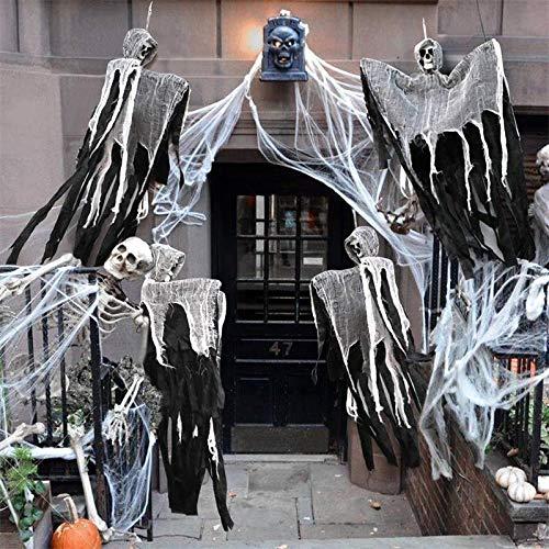 100cm del cráneo de Halloween que cuelga del fantasma de la casa encantada Colgando Grim Reaper horror materiales caseros Puerta club de la barra de Halloween Decoración Accesorios de decoración